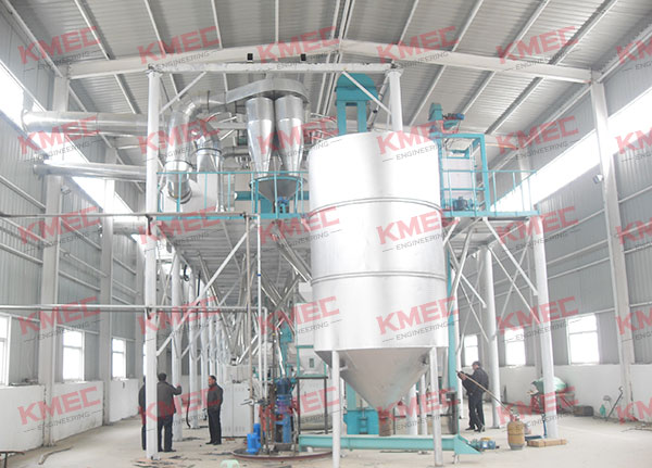 whole view of the 100tpd corn flour milling workshop