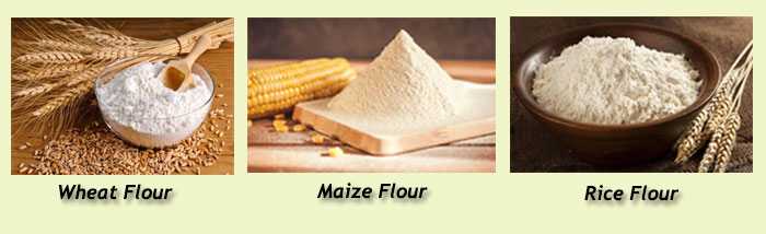 wheat, rice and maize can be processed into flour