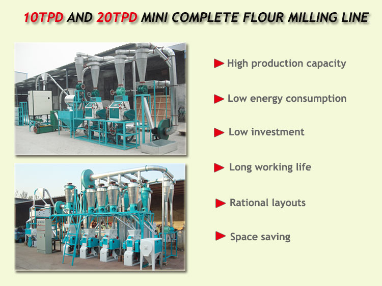 small complete function flour milling line